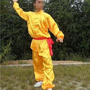 Chinese Traditional Kung Fu Morning Exercise Uniform Tai Chi Suit Clothing(jacket & Pants) Unisex Yellow 145cm
