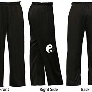 Blended Black Cotton Tai Chi Pants with Tai Chi Logo Embroidery - Adult Unisex