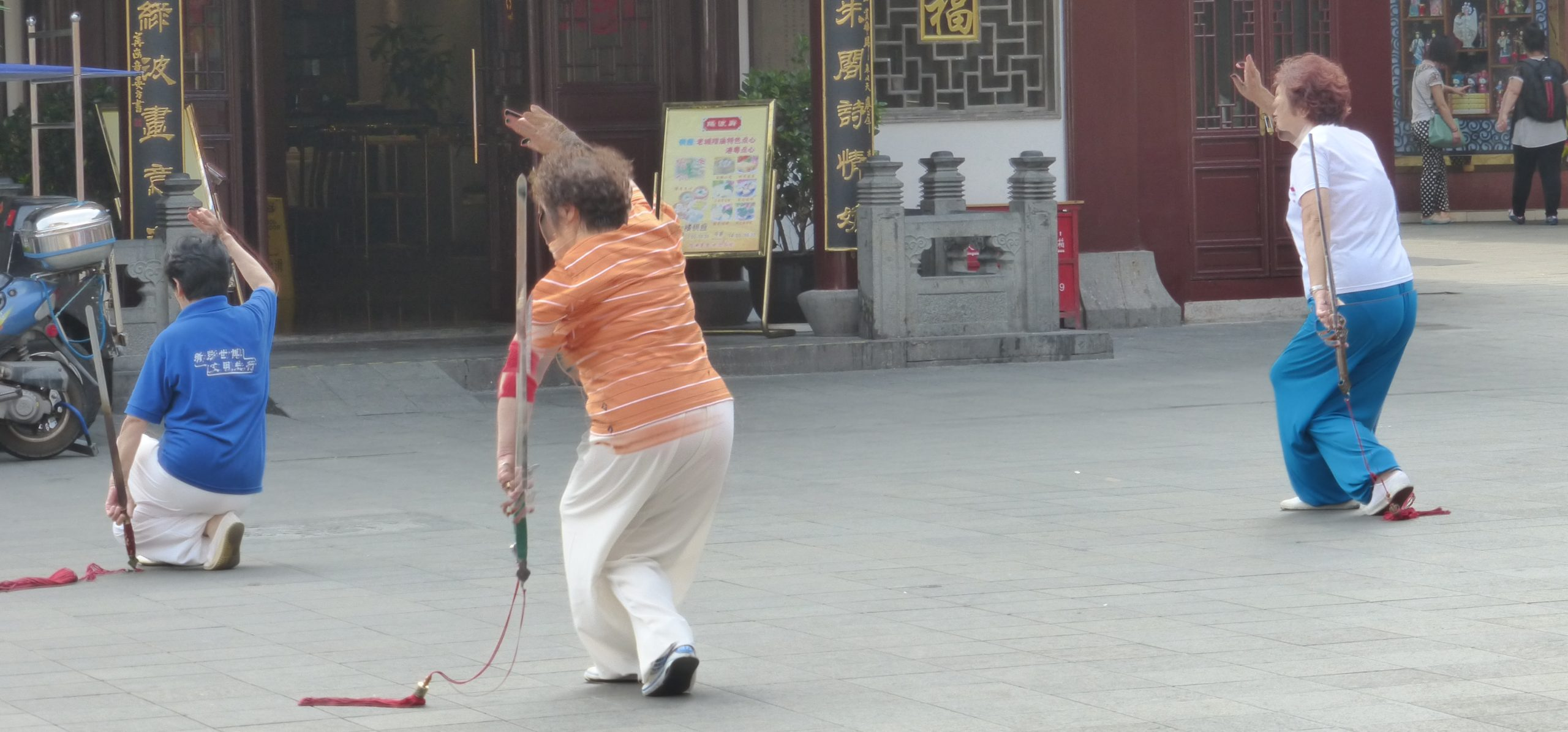 tai chi fitness in a park in China
